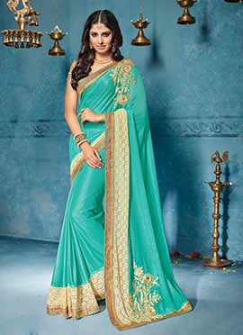 Turquiose Georgette Saree