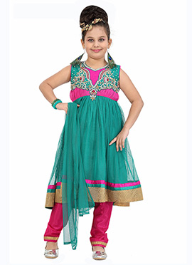 Turquoise Kids Anarkali