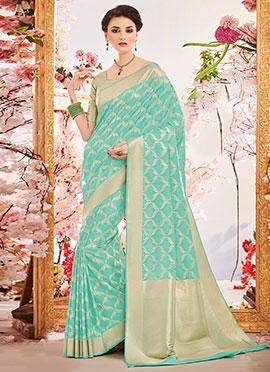 Turquoise Art Benarasi Silk Saree