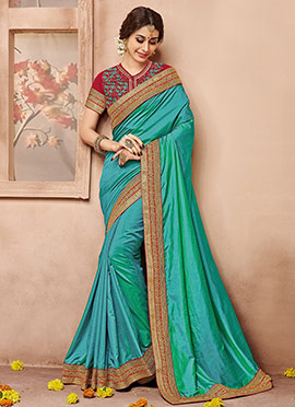 Turquoise Art Sanchi Silk Border Saree