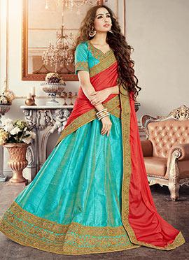 Turquoise Art Silk A Line Lehenga Choli