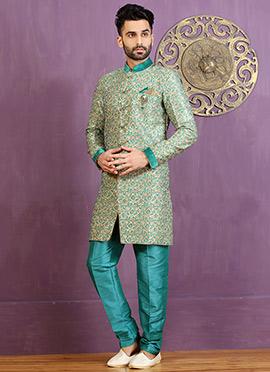 Turquoise Art Silk Achkan Sherwani