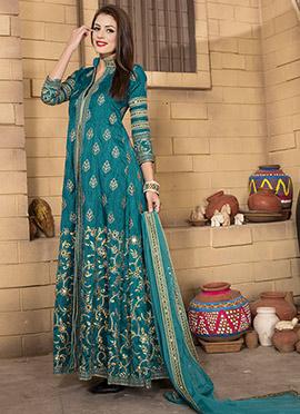 Turquoise Art Silk Anarkali Suit