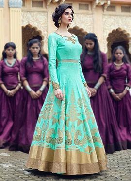 Turquoise Art Silk Ankle Length Anarkali Suit
