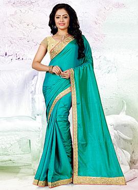 Turquoise Art Silk Border Saree