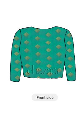 Turquoise Art Silk Close Neck Blouse