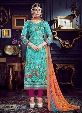 Turquoise Art Silk Cotton Straight Suit