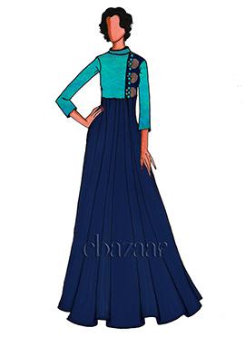 Turquoise Art Silk Double Paneled Indowestern Set