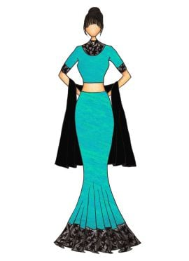 Turquoise Art Silk Fish Cut Lehenga with a Black Georgette Dupatta