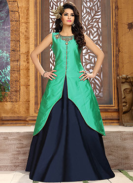 Turquoise Art Silk Indo Western Suit