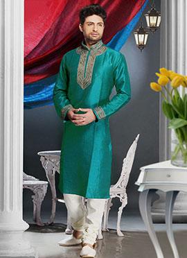 Turquoise Art Silk Kurta Pyjama