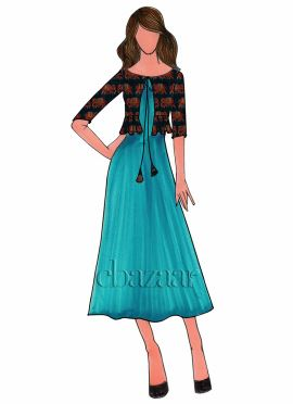 Turquoise Art Silk Long Kurti