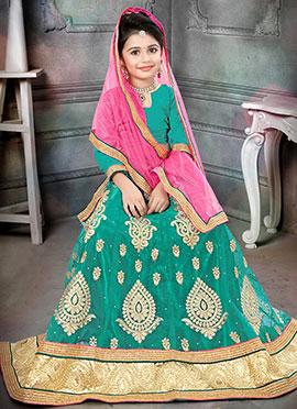 Turquoise Art Silk Net Kids Lehenga