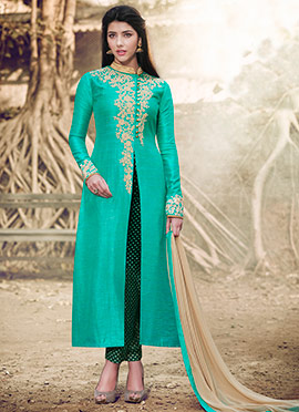 Turquoise Art Silk Straight Pant Suit