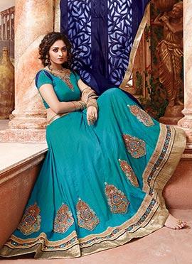 Turquoise Art Silk Umbrella Lehenga Choli