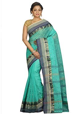 Turquoise Bengal Handloom Tant Saree