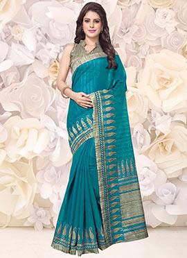 Turquoise Bhagalpuri Art Silk Saree