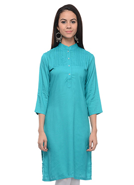 Turquoise Blended Cotton Kurti