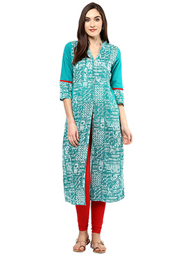 Turquoise Blended cotton Kurti