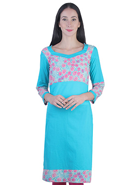 Turquoise Blended Cotton Printed Kurti