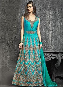 Turquoise Blue Art Raw Silk Anarkali Gown