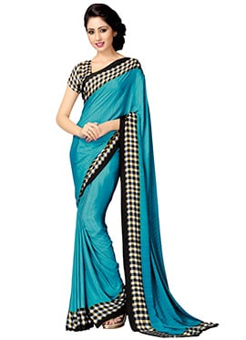 Turquoise Blue Art Silk Saree