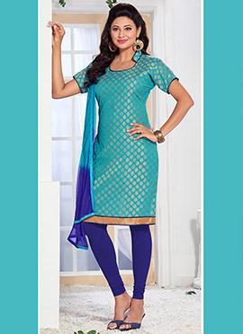 Turquoise Blue Benarasi Art Silk Churidar Suit