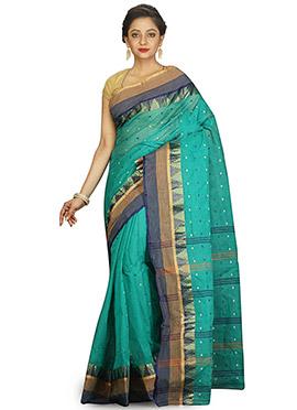 Turquoise Blue Bengal Handloom Tant Saree