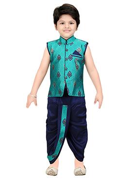 Turquoise Blue Brocade Kids Dhoti Kurta