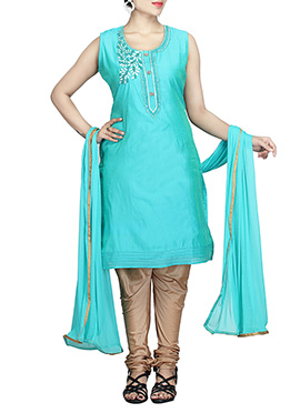 Turquoise Blue Chanderi Pure Silk Cotton Churidar Suit