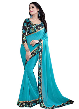 Turquoise Blue Chiffon Printed Border Saree