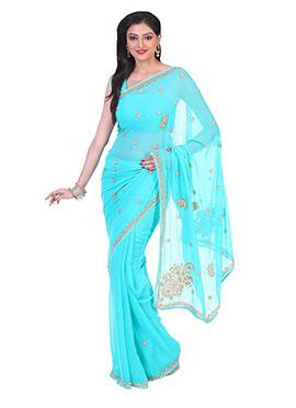 Turquoise Blue Chiffon Saree
