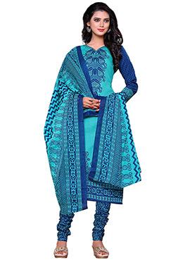 Turquoise Blue Cotton Printed Churidar Suit