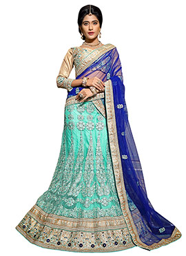 Turquoise Blue Embroidered Lehenga Choli