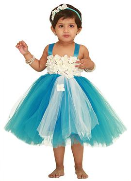 Turquoise Blue Floral Design Kids Tutu Dress