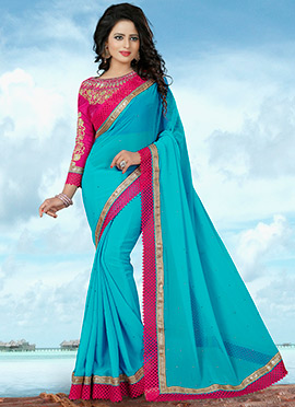 Turquoise Blue Georgette Border Saree