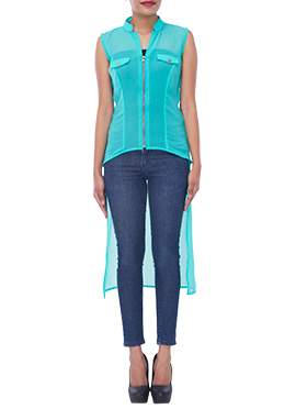 Turquoise Blue Georgette Tunics