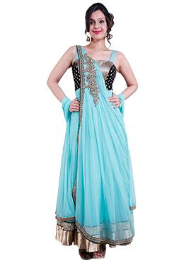 Turquoise Blue Net Anarkali Suit