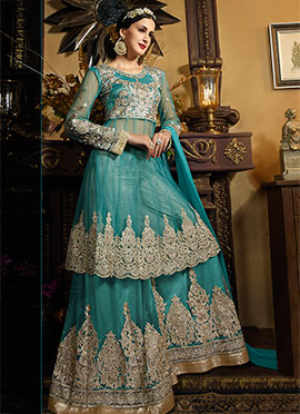 Turquoise Blue Net Palazzo Suit