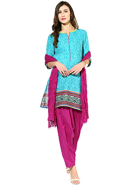 Turquoise Blue Printed Patiala Suit