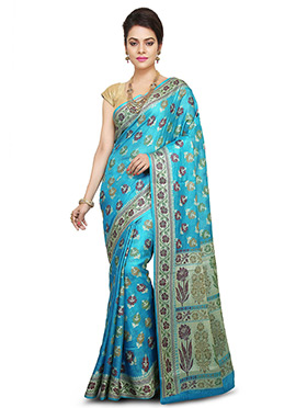 Turquoise Blue Pure Silk Saree