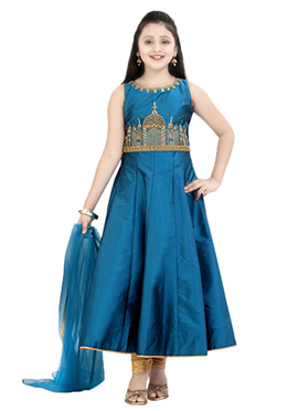 Blue Taffeta Kids Anarkali Suit