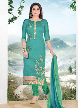 Turquoise Chanderi Cotton Churidar Suit