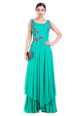 Turquoise Chiffon Layered Gown