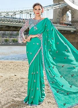 Turquoise Chiffon Saree
