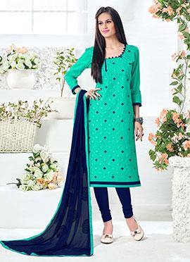 Turquoise Cotton Churidar Suit