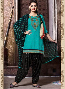Turquoise Cotton Embroidered Patiala Suit