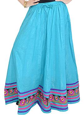 Turquoise Cotton Floral Hemline Skirt