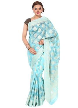 Turquoise Cotton Net Saree