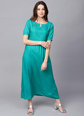 Turquoise Cotton Rayon Dress